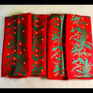 Four Red Embroidered Christmas Napkins New